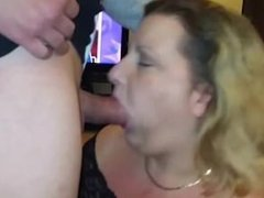 Horny BBW sucks and swallows his cum