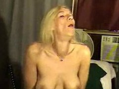 blonde milf shows her deep throat skills on a dildo