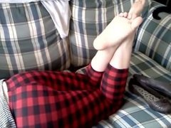 Sexy Dangle (Red Plaid Leggings_ Brown Leather Flats and Sexy Bare Soles)