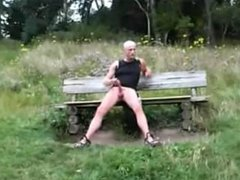 Naked daddy in a public park