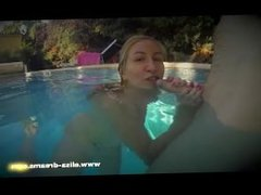 Bitch, masturbation and cum in mouth in a pool