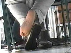Nice Ebony Soles (Candid Shoeplay)