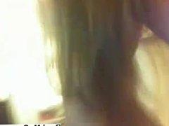 My blonde girlfriend striptease on webcam