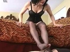 Mistress stocking footjob