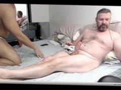 chubby sits on the hard grandpa big cock