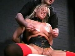 Blonde slave Crystels kinky electro bdsm and tounge tied fetish