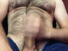 jacking off, with a nice no-hands cumshot dripping onto my balls
