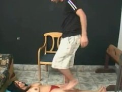 man tramples girl, gets her to worship feet