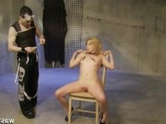 Blonde slave gets pussy pegged and intense finger orgasms by kinky Master