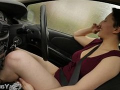 Short haired cutie Jenny masturbating her beaver while driving the car