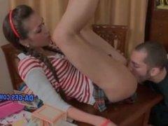 Teen in miniskirt gets a balls deep wet pussy