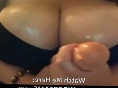BBW babe is showing very big tits on web cam