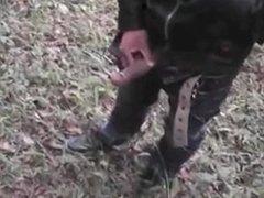 asian guy jerk off in the woods