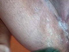 Deeper cucumber in husbands ass