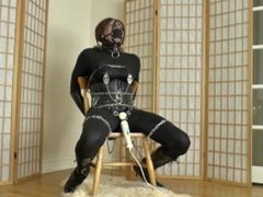 Chained to a chair and vibrated