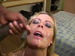 Facial bukkake for Alexis May, big-titted British pornstar