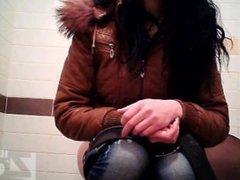 Girls go pee in a public wc 49