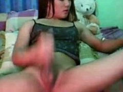 Asian tranny TS smoking and jerking on cam