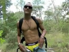 Hot gym guy naked in the woods