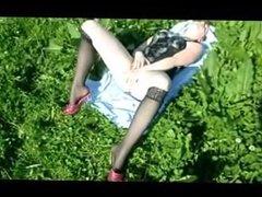 Amee from dates25.com - German teen outdoor dildo fucking