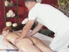Massage Rooms Leggy redhead stunner has intense G-spot orgasm