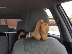 Asian car seat foot worship tickle 2