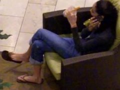 Candid Teen Feet Dangling Flip Flops Mall
