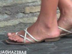Candid Beautiful italian Teen Feet Legs Sandals