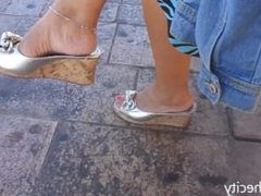 Candid Sexy Mature Feet Shoeplay Dangling with Anklet