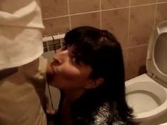 Bryanna from dates25.com - Blowjob and cumshot in bathroom