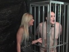 Mistress Athenas Lucky caged slave 8/19/15