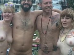Hot naked bike ride turns into a public orgy with lots of piss and shit