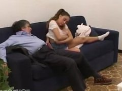 Teen brings an older man home for some fun