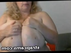 Blonde granny with huge natural tits toying