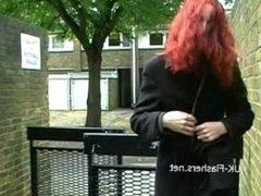 Redhead flasher Monicas public masturbation and milf babes outdoor exhibit