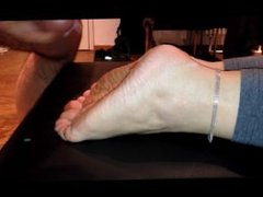 blowing a huge load on my wifes sexy soles with slow-mo