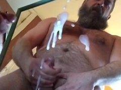 Daddy Bear Cums on mirror