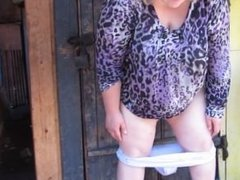 Russian Fat Milf, Pissing Standing On His Pants)