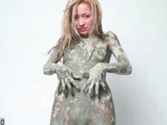 Totally Naked covered in mud paint