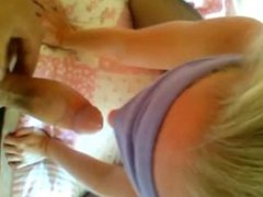Blindfolded Blonde MILF Gives a Blowjob