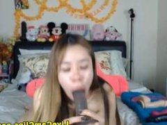 Big ass Asian teen dildo tryout webcam show