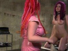 Nurse in bondage spanks her slave slut and gets out her dildos