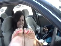 Roxy's feet tickled in her car