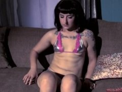 Small tits likes to play with herself