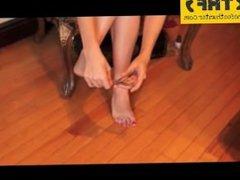 Aria Oda - 22yo , sexy feet show, walking barefoot & cutting red toenails