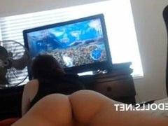 Nerd gamer girl showing off her bubble ass on cam while playing video games