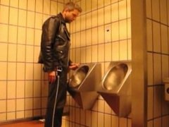 Leather Chaps Jacks off and Cums in Public Bathroom