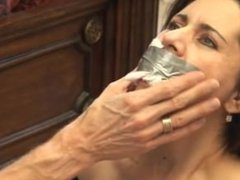 Housewife taped and tits exposed