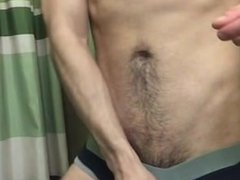 Hairy Guy shows his cock and hole in the bathroom