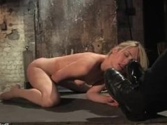 sexy foot pet slave girl clean her master's boots
